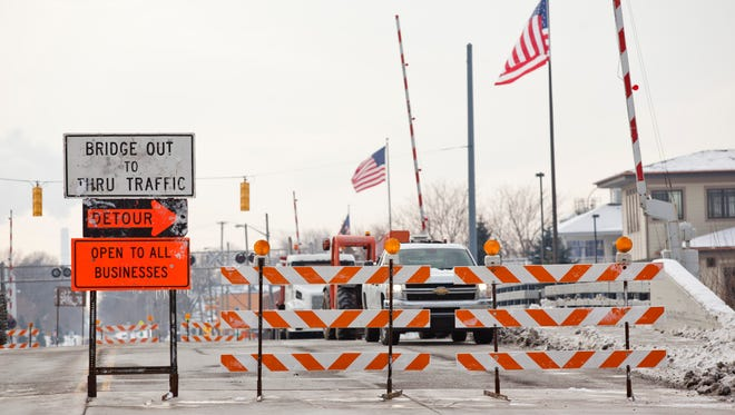 The M-29 Bridge is closed to traffic Thursday, Jan. 15, 2015 in St. Clair. The Military Street Bridge and M-29 bridge over the Pine River will be closed for three months.