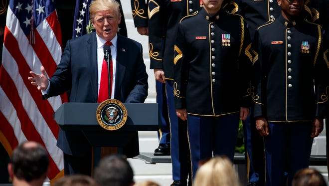 """President Donald Trump speaks during a """"Celebration of America"""" event at the White House, Tuesday, June 5, 2018, in Washington, in lieu of a Super Bowl celebration for the NFL's Philadelphia Eagles that he canceled."""