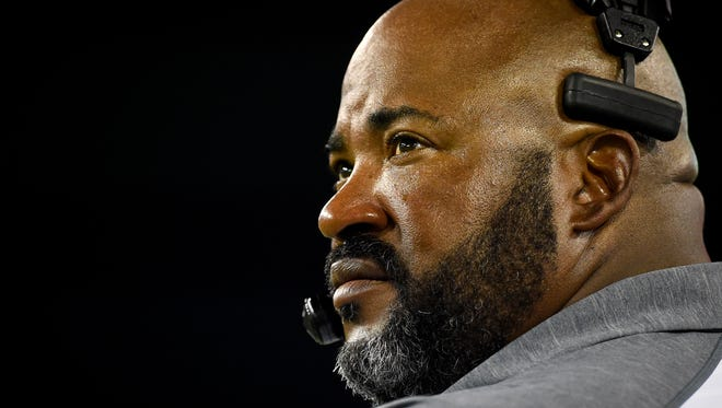 Tennessee State head coach Rod Reed watches his players during the second half against Arkansas-Pine Bluff at Nissan Stadium on Sept. 3, 2016. Tennessee State won 44-0.