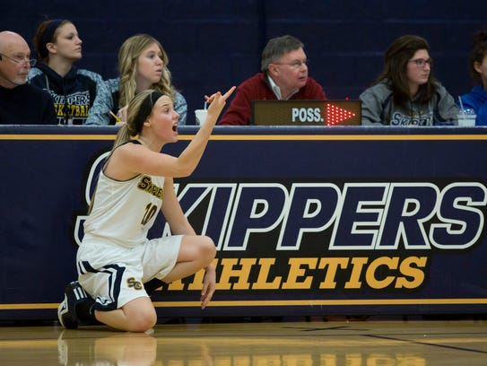 Skippers guard Madison Valko yells to teammates from