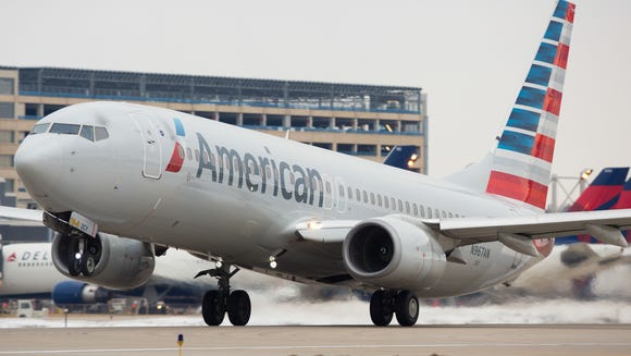 An American Airlines Boeing 737 takes off from Minneapolis