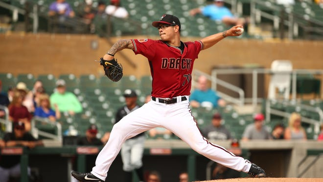 Arizona Diamondbacks pitcher Anthony Banda throws to Grand Canyon University in the 1st inning during an exhibition game on Feb. 22, 2017 at Salt River Fields in Scottsdale, Ariz.