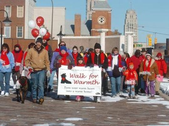 The annual Walk for Warmth kicks off near the Sojourner Truth Memorial in 2002.