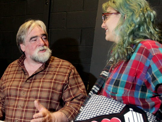 From left, Hannah Sheldrick, ART Director Steve Small and Isabella Jackson talk shop during a theater tech class.