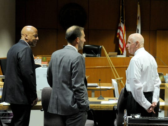 Senior Criminal Investigator Chas Wiggins, of the Ventura County Public Defender's Office, from left,  Chief Deputy Public Defender Andre Nintcheff and Wilson Chouest wait for the jury to come into Ventura County Superior Court Wednesday morning. Chouest is on trial in the 1980 murder and rape of a pregnant woman found dead in Ventura County and another woman found dead in Kern County.