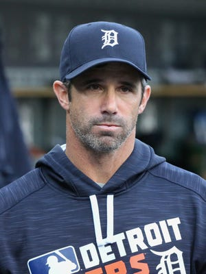 Tigers manager Brad Ausmus in the dugout during the first inning Monday at Comerica Park.