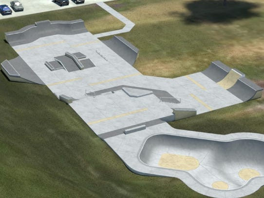 A rendering of the skate park under construction at
