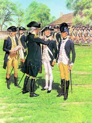 A painting by H. Charles McBarron depicts Gen. George Washington awarding the Badge of Military Merit to Sgt. William Brown (center) in 1783.
