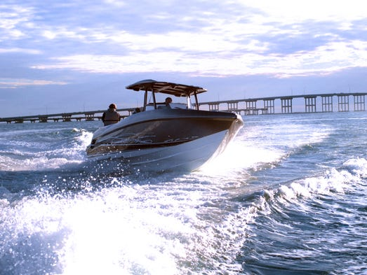 The Sunsation 32 CCX has twin Mercury Verado 350s and