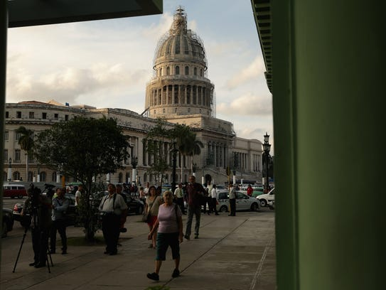The Capitolio, or National Capitol Building, is shrouded