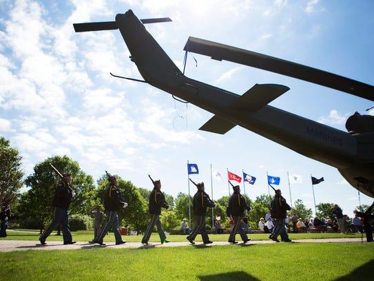 The Perinton Memorial VFW Honor Guard makes their way