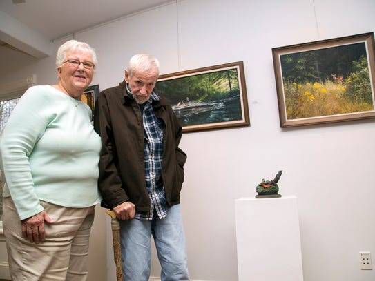 Artist Bill Grausgruber, right, with his wife Sandy
