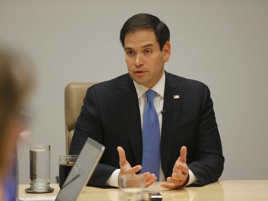 Senator Marco Rubio speaks with the editorial board