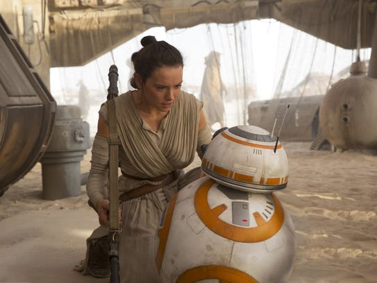 Rey (Daisy Ridley) and BB-8 are two of the stars of