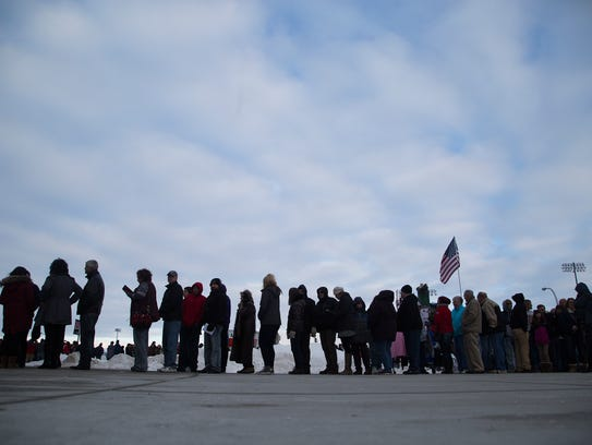 Donald Trump supporters line up to see the candidate