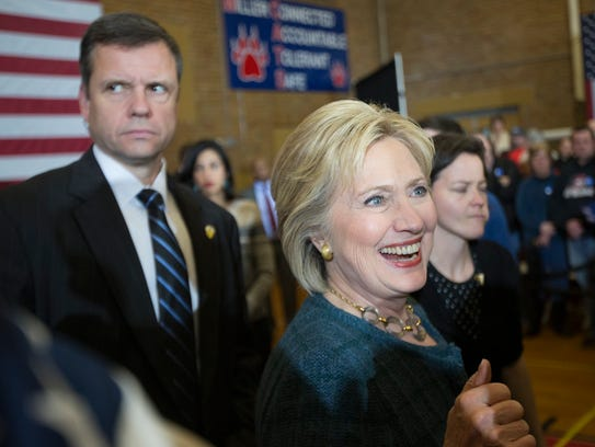 Hillary Clinton greets supporters at a much-awaited