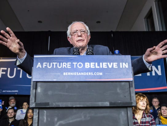Bernie Sanders speaks at a campaign rally at Music