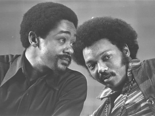 Activists Bobby Seale, left, and the Rev. Jesse Jackson