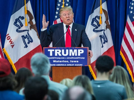 Donald Trump at campaign rally in Waterloo, Iowa, on