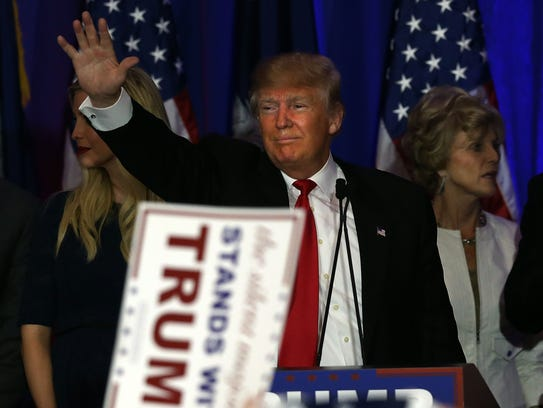 Donald Trump speaks at his election night party on