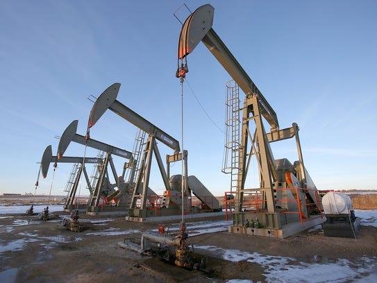 Oil derricks near Vernal, Utah.