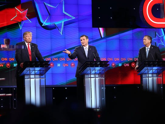 Donald Trump, Ted Cruz and John Kasich take part in