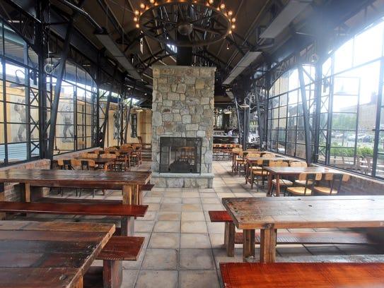 The outdoor beer garden at Heartland Black + Gold,