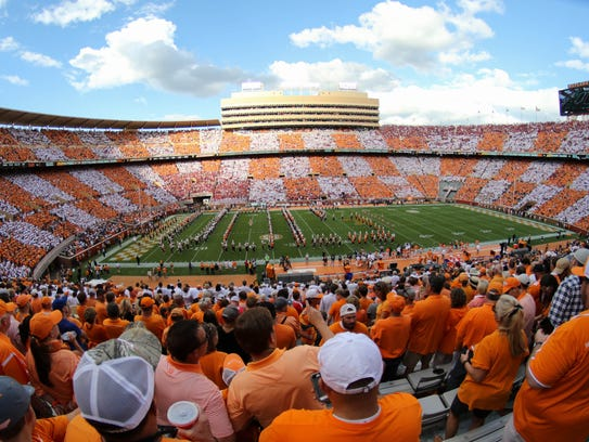 View during the first quarter at Neyland Stadium during