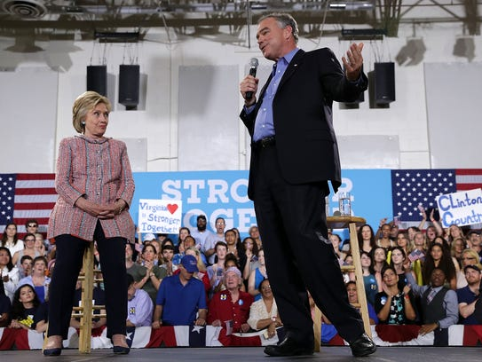 Sen. Tim Kaine, D-Va., speaks at a rally with Hillary