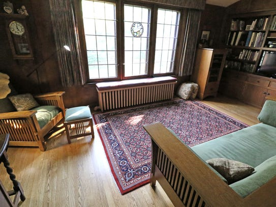 The Craftsman-style den and its furnishings make for