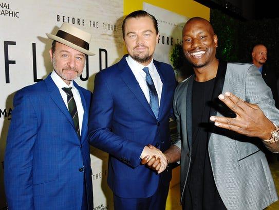 (L-R) Fisher Stevens, Leonardo DiCaprio and Tyrese