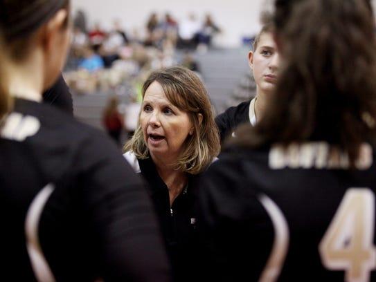 Buffalo Gap head coach Elizabeth Ashby talks to players