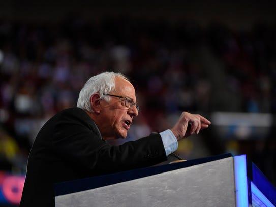 Vermont Sen. Bernie Sanders speaks at the Democratic
