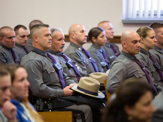Several dozen of New York state troopers turned out
