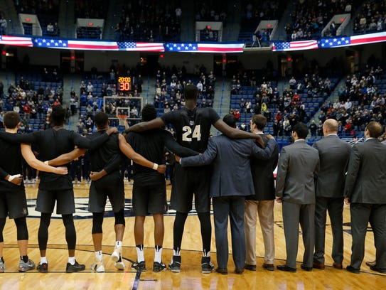 Tacko Fall (24) and his teammates before the start