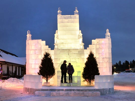 The Eagle River ice castle is a favorite spot for photographs,