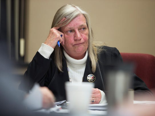 Town of Union Supervisor Rose Sotak listens during