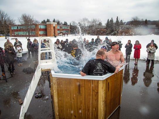 Twelve members of local law enforcement took an icy