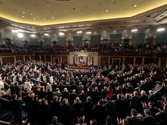 President Trump speaks before a joint session of Congress