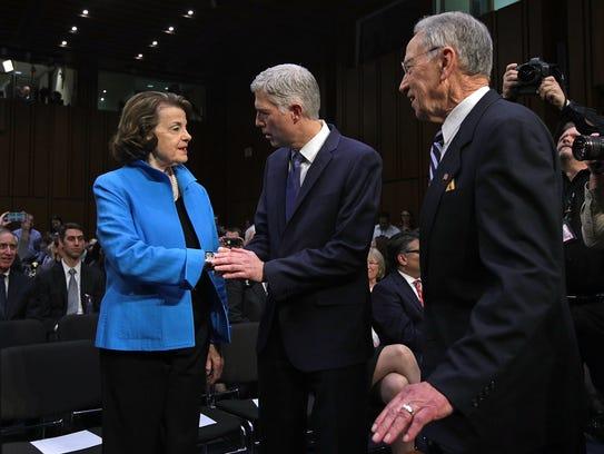 Neil Gorsuch greets Senate Judiciary ranking member