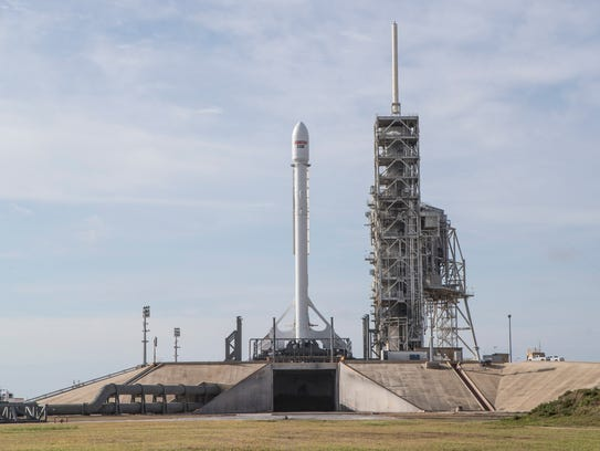 A SpaceX Falcon 9 rocket with the EchoStar 23 satellite