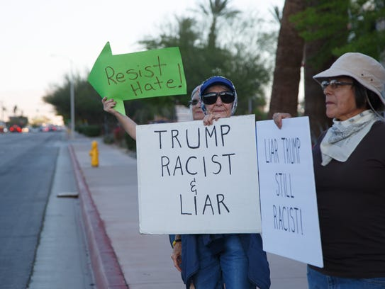 A group of activists protest the Trump administration's