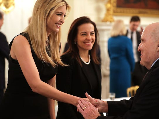 Ivanka Trump and Dina Powell greet former General Electric