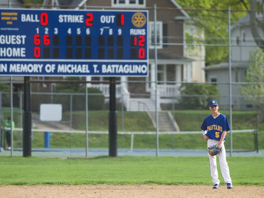 Shortstop Michael Mancini mans his position during