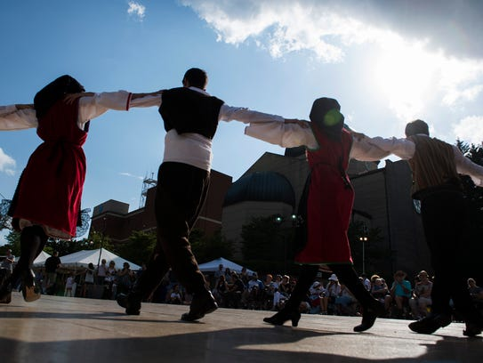 Performers dance during the Greenville Greek Festival