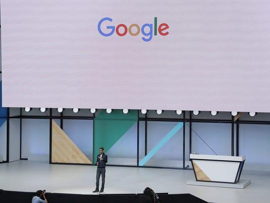 Google CEO Sundar Pichai delivers the keynote address