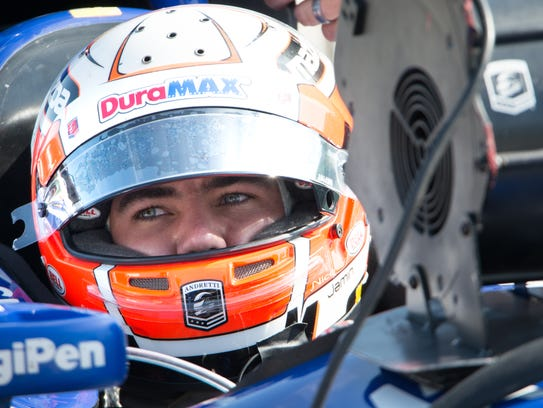Indy Lights driver Nico Jamin sits in the car usually