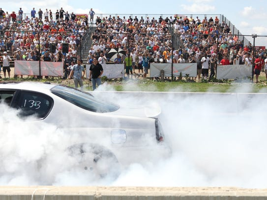 This 2016 file photo shows amateur drag racers competed