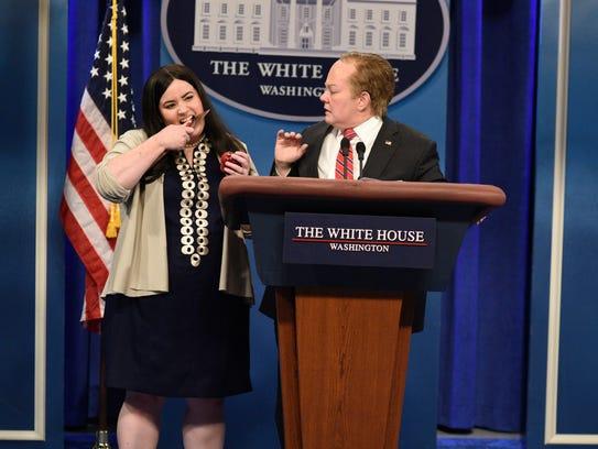 Aidy Bryant, left, impersonates Sarah Huckabee Sanders