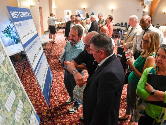 People attending the I-69 bridge route open house held